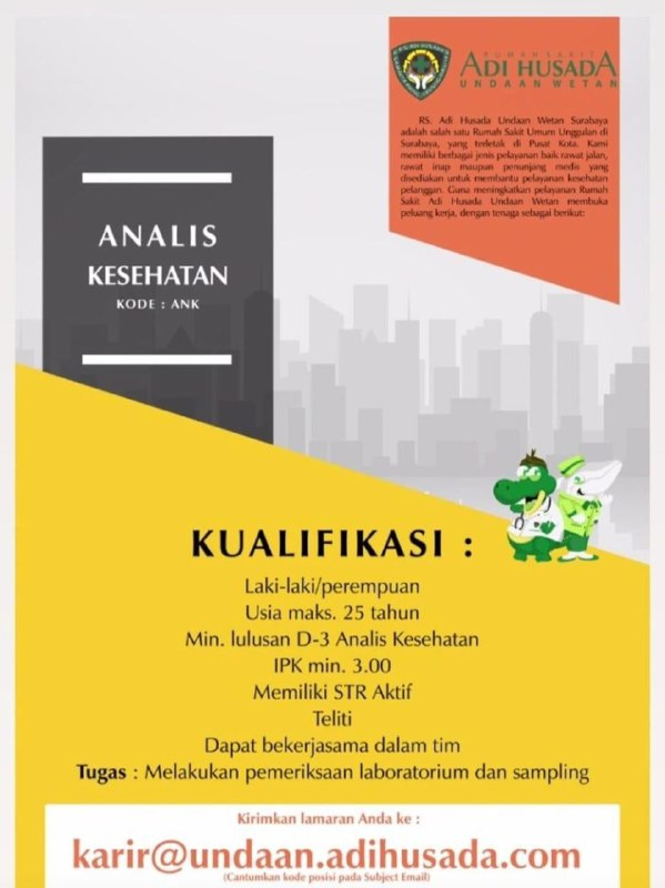 loker analis kesehatan RS Adi Husada Undaan Wetan
