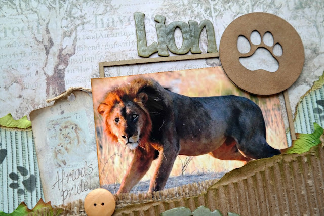 Chipboard Framed Lion Photo - Call From The Wild Layout by Dana Tatar