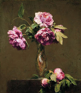 Les fleurs roses d' Henri Fantin-Latour : Pivoines