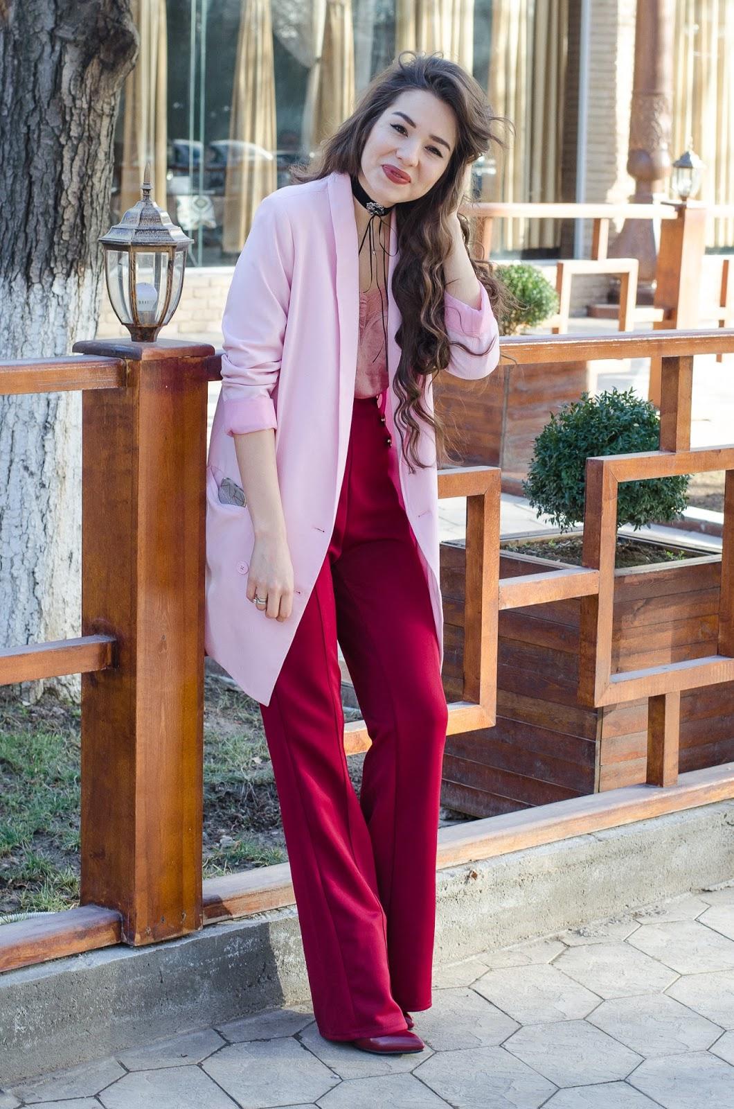 fashion blogger diyorasnotes wide leg pants cami top pink jacket asos choker