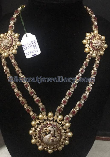 Square Shaped Ruby and Diamond Two Layer Set
