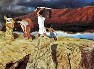 """""""Mengungsi"""" by S.Sudjojono, Medium: oil on canvas, Size: 104cm x 144cm, Year: 1947 *) Koleksi Bung Karno"""
