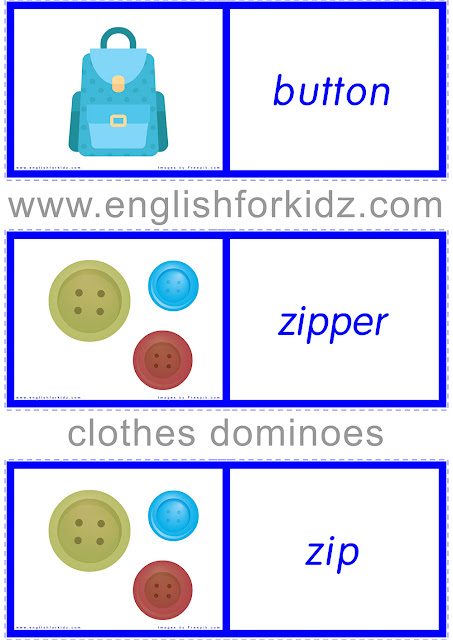 Clothes domino worksheets