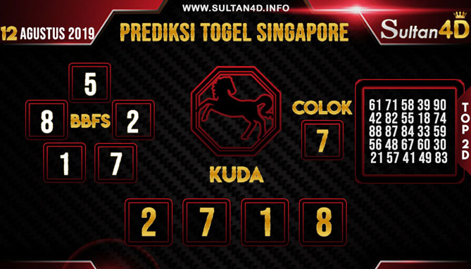 PREDIKSI TOGEL SINGAPORE SULTAN4D 12 AGUSTUS 2019