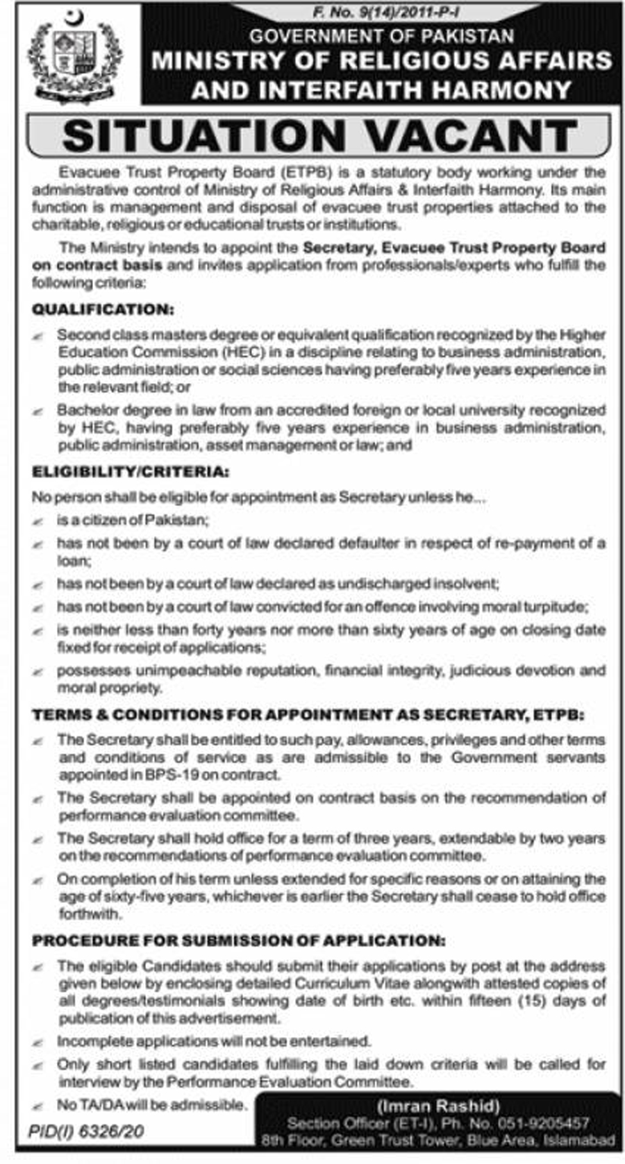 Ministry of Religious Affairs and Interfaith Harmony Jobs Advertisement 2021