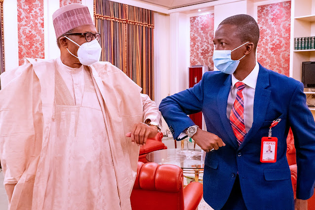 President Muhammadu Buhari meets the newly appointed EFCC Chairman, Abdulrasheed Bawa