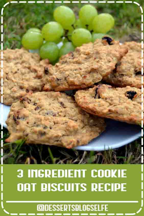 3-Ingredient Healthy Cookies Recipe with banana, oats and raisins. Can be made gluten free. No sugar, no butter, no flour and easy to make #DessertsBlogSelfe #vegan #veganrecipe #vegancookie #healthyrecipe #healthytreat #clean #HealthyDesserts #videos #easy #snacks