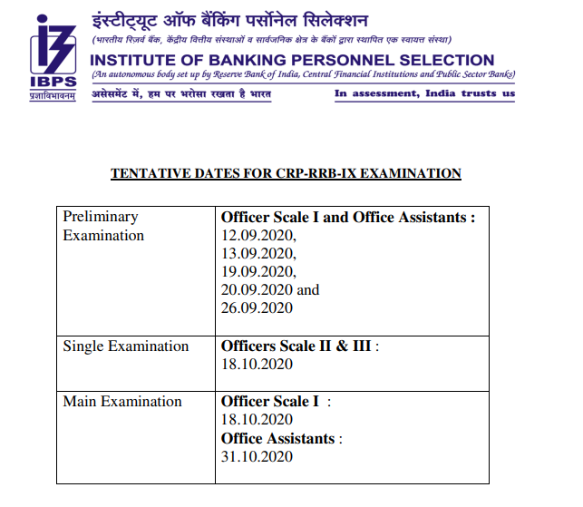 Check IBPS RRB Officer & Office Assistant New exam dates