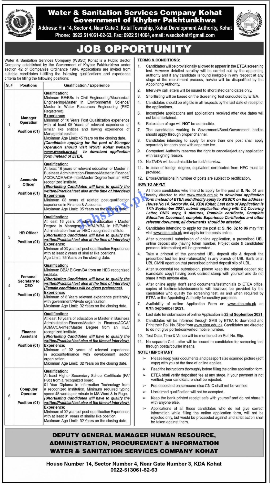 WATER & SANITATION SERVICE COMPANY KOHAT JOBS 2021/Manager operation/Account/HR officer Financ Asist