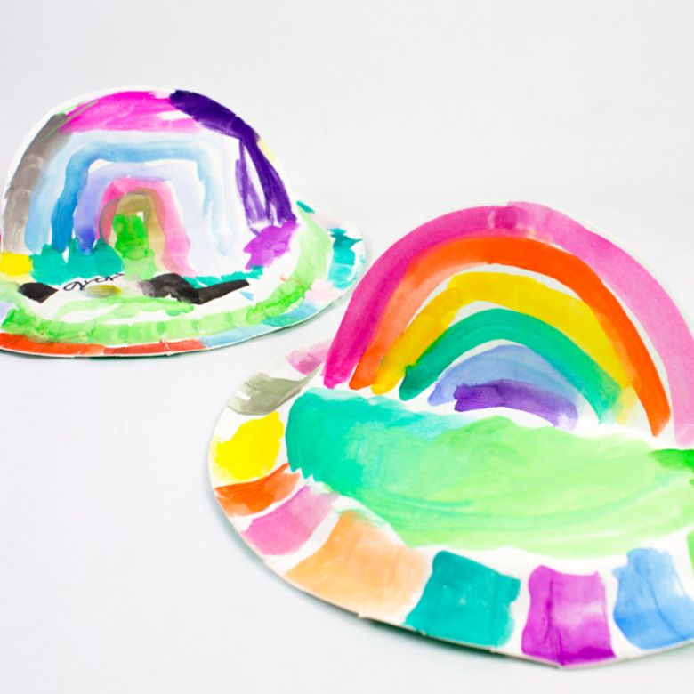 St Patricks day crafts for preschoolers - paper plate rainbow craft