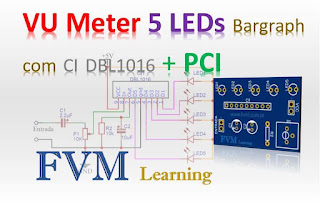VU Meter 5 LEDs Bargraph com CI DBL1016 + PCI