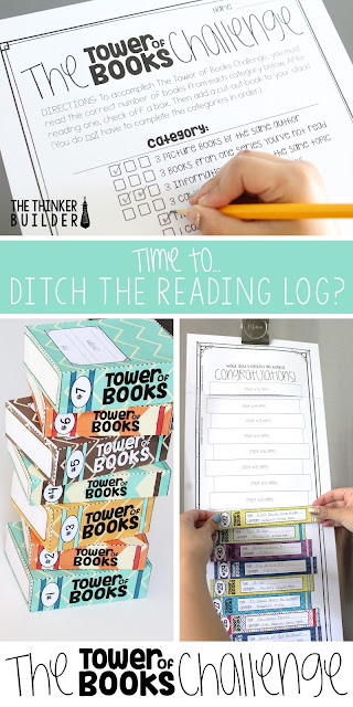 The Tower of Books Challenge is an independent reading challenge, great for a summer reading assignment or to replace that hum-drum reading log your students dread. An engaging format and tons of options! Read more about it in this blog post by The Thinker Builder.