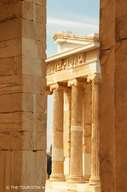 Pillars of Propylaea at the Acropolis in Athens in Greece