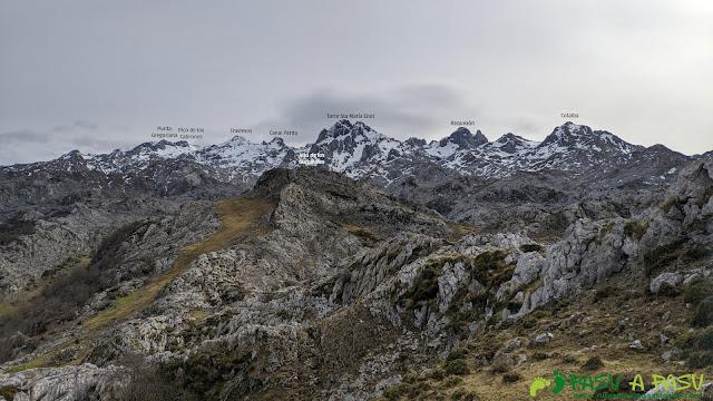 Vista hacia el Macizo del Cornión desde la zona de los Gurbiñales
