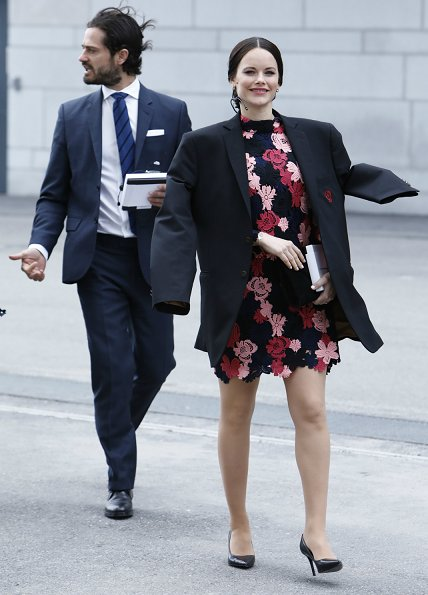 Pregnant Sofia Hellqvist Style. Princess Sofia wore a & Other Stories floral crochet dress at World Anti-Bullying Forum Quality Hotel Friends