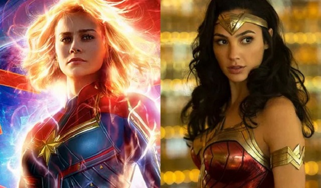 Brie Larson em Capitã Marvel/Disney e Gal Gadot em Mulher-Maravilha/Warner Bros