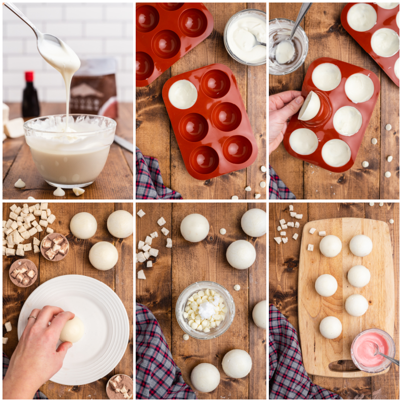 Six process photos of how to make Keto Valentine Hot Chocolate Bombs.