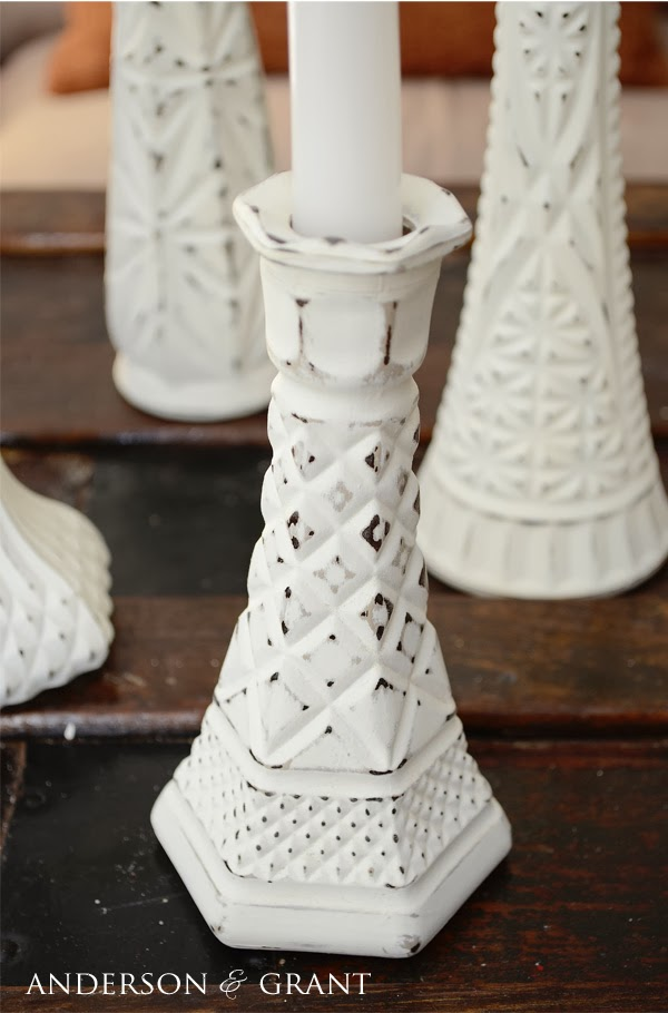 Distressed Candlestick Vases | www.andersonandgrant.com