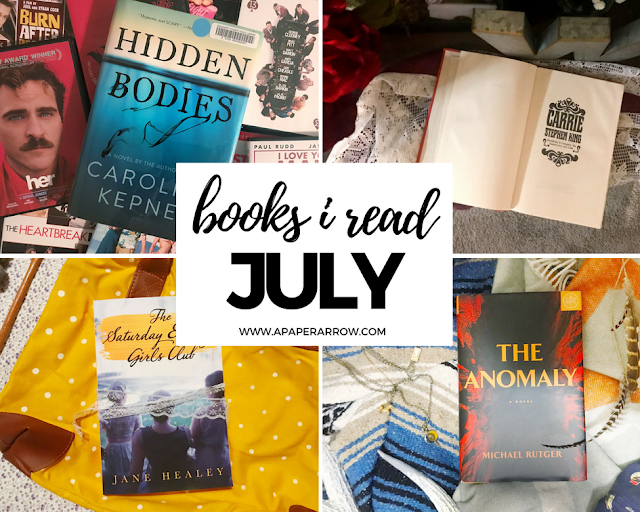 hidden bodies, the saturday evening girls club, carrie, stephen king, the anomaly, book of the month club