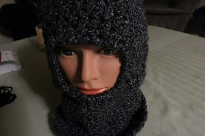 ninja mask, balaclava, crochet, finished project, homespun, Lion Brand