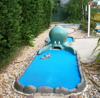 A cephalopod on the Sea Dwellers Crazy Golf course at The Golden Palm Resort, Chapel St Leonards, near Skegness