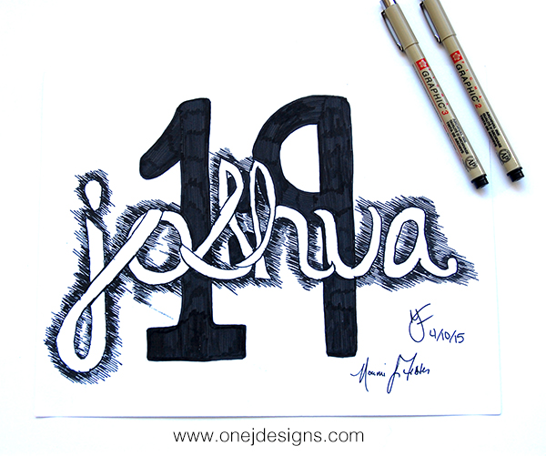 joshua 1:9 handlettering logo concept on bristol paper using pigma graphic pens #2 and #3 final image