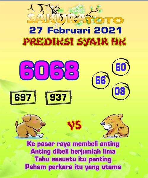 Syair HK Sabtu 27 Februari 2021 -