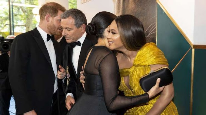 'We love you guys,' Beyonce tells Meghan at Lion King premiere