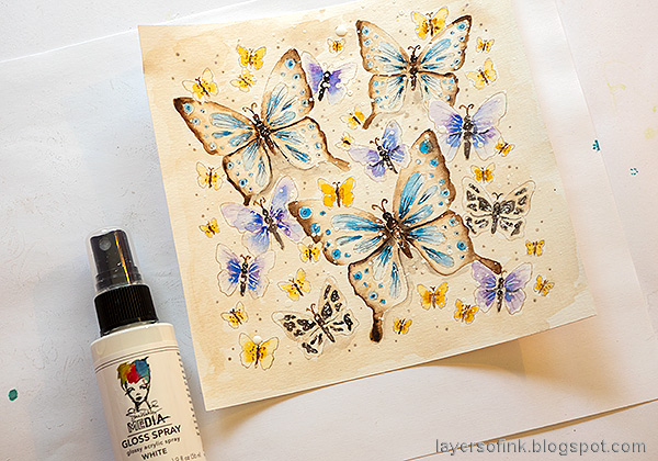 Layers of ink - Watercolor Butterflies Art Journal Page by Anna-Karin Evaldsson. Splatter with acrylic mist.