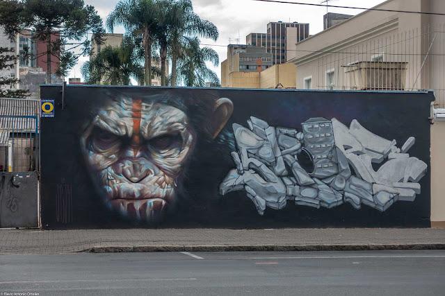 """Outro belo grafite, uma referência ao filme """"Planeta dos Macacos"""", executado por """"Seth"""""""