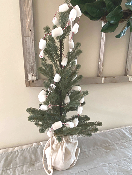 small tree with marshmallow garland