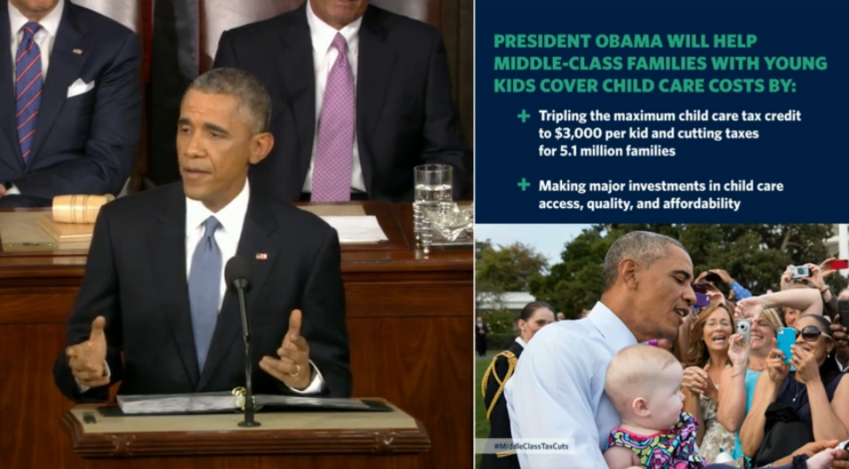 President Barack Obama with a baby State of the Union 2015