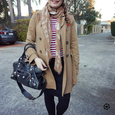 awayfromblue instagram burgundy stripe tee pencil skirt camel trench coat business casual office outfit winter