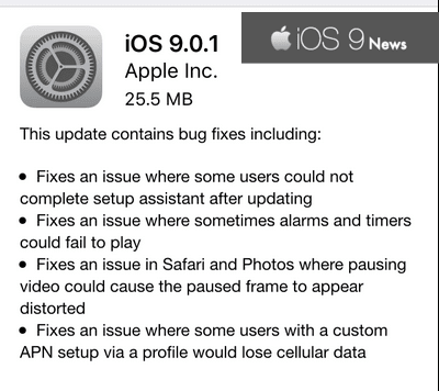 new-ios-9.0.1-update Public iOS 9.0.1 Download Links For iPhones And Supported Devices Apps