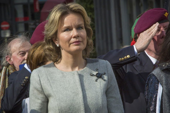 Queen Mathilde of Belgium paid tribute to resistance heroine Gabrielle Petit during a ceremony