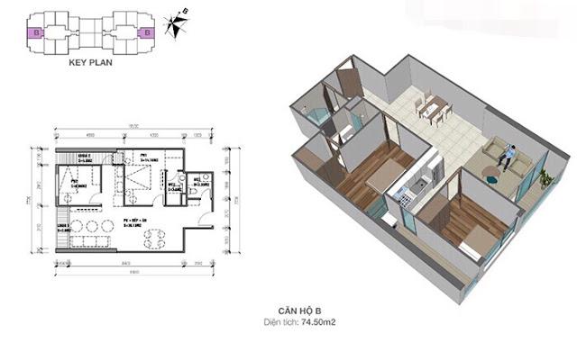 Thiết kế căn hộ Eco Dream loại B - 2 phòng ngủ
