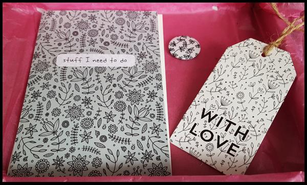 SherbetBox Notebook, tag and badge