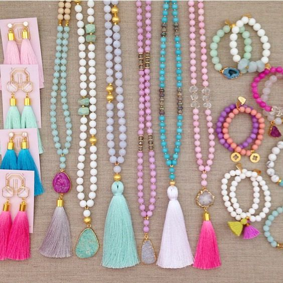 Brightly-colored costume jewelry and beads.