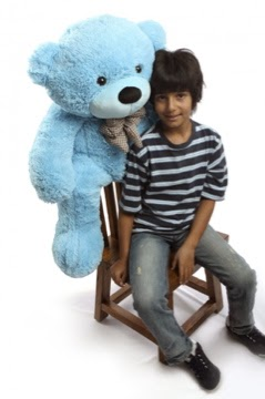 Meet Happy Cuddles 38in light blue teddy bear