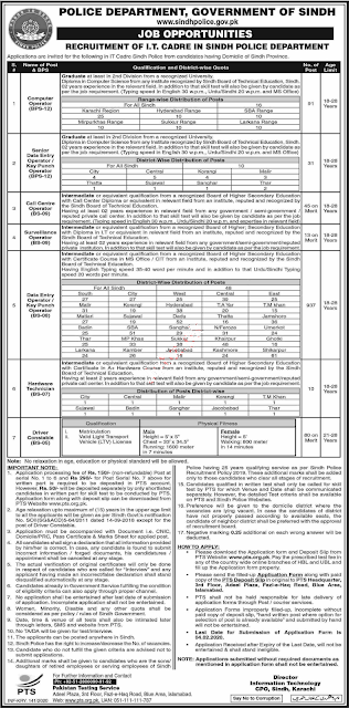 Sindh Police male and Female Jobs 2020