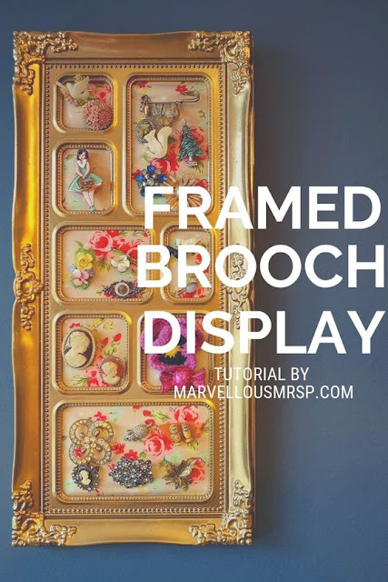 A Pinterest title card featuring a framed brooch display.