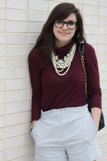 2017, spring, J.Crew, stripes, turtleneck, ruffles, pearls, patterns, OOTD,