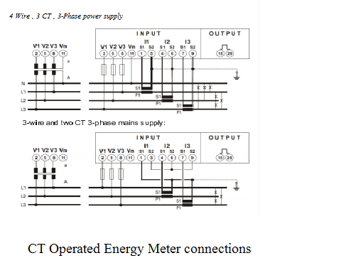 electrical standards energy meter connection;single phase; threect operated three phase energy meter connections