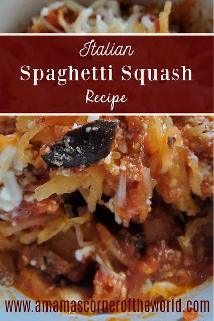 Pinnable Image for an Italian Spaghetti Squash Recipe