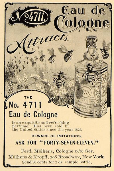 American print ad for eau de cologne, 1907