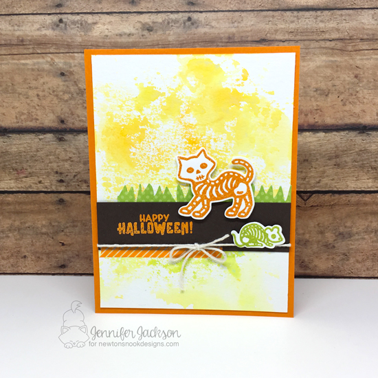 NND sponsors Cupcake Inspiration Challenge #429 | Halloween card by Jennifer Jackson | Spooky Skeletons Stamp Set by Newton's Nook Designs #newtonsnook #handmade