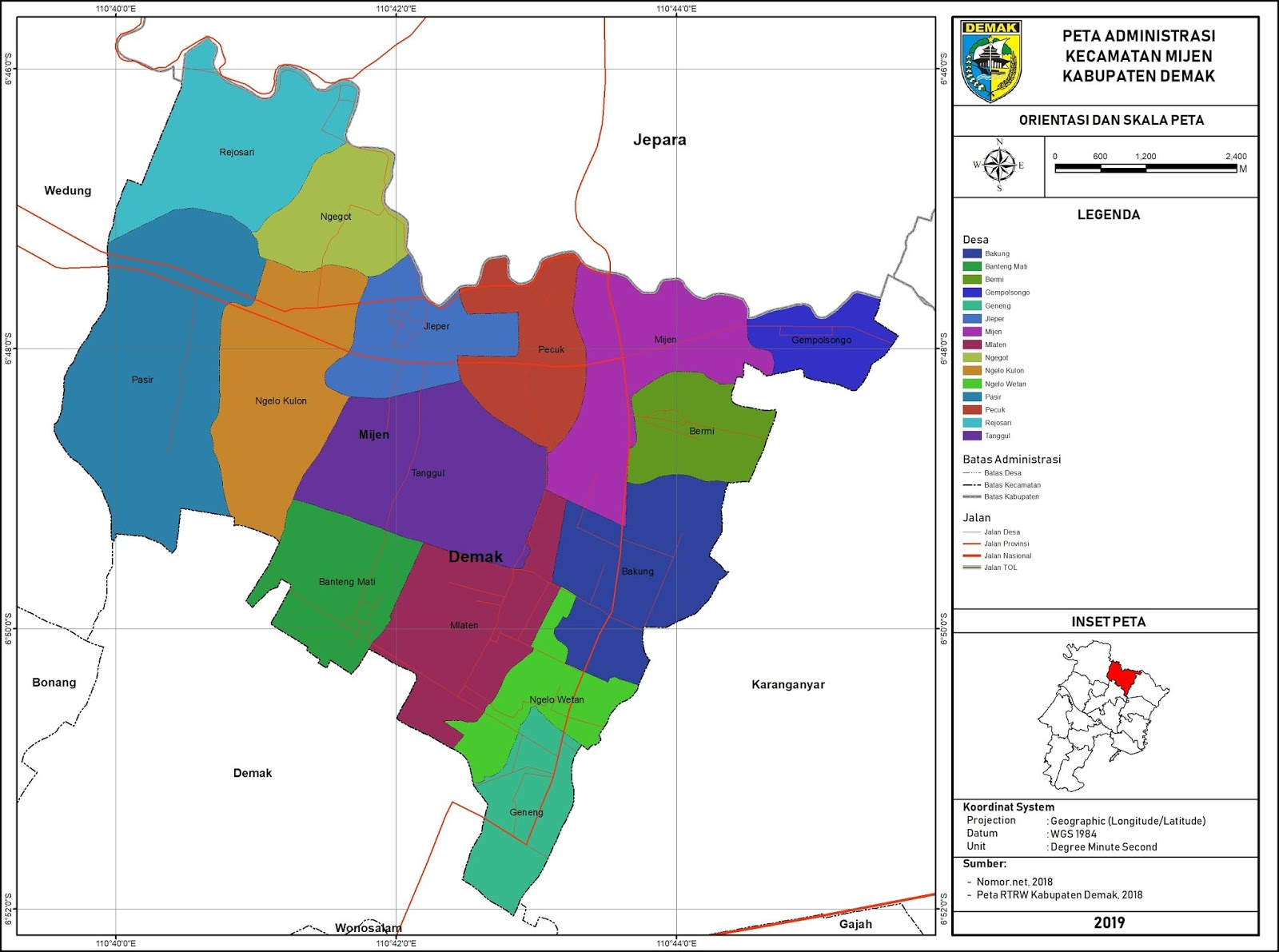 Peta Administrasi Kecamatan Mijen, Kabupaten Demak ...