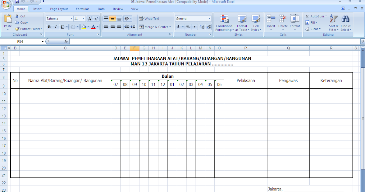 Contoh Format Jadwal Pemeliharaan Sarana Dan Prasarana Sekolah Antapedia Com