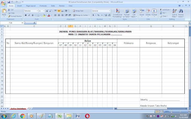 Contoh format jadwal pemeliharaan sarana dan prasarana sekolah