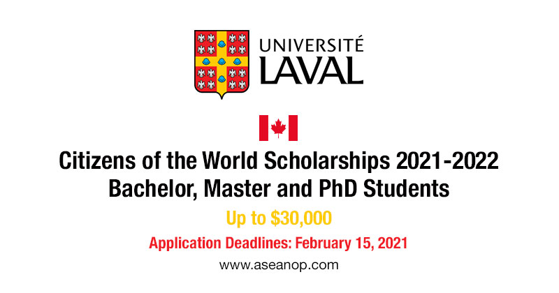 Canada: University of Laval Citizens of the World Scholarship 2021/2022 for International Students